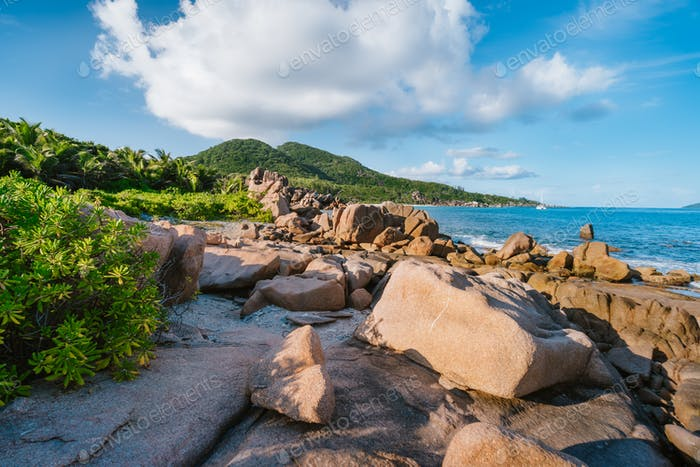 La Digue, Seychelles. Beautiful secluded beach. Tropical ocean coast, unique granite rocks and