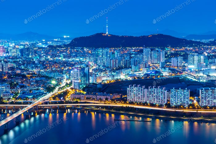 Seoul skyline with river