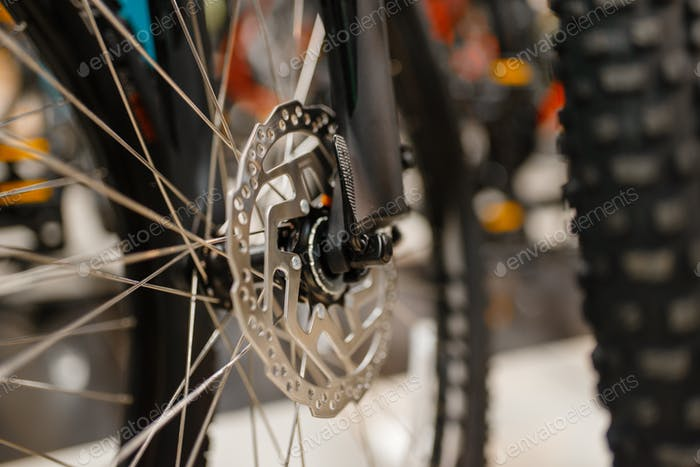Mountain bicycle, sports shop, focus on disc brake
