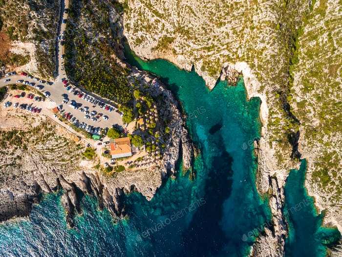 Aerial  view of Porto limnionas beach in Zakynthos (Zante) islan
