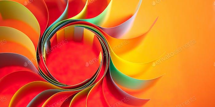 farbige Papierstruktur wie die Sonne geformt