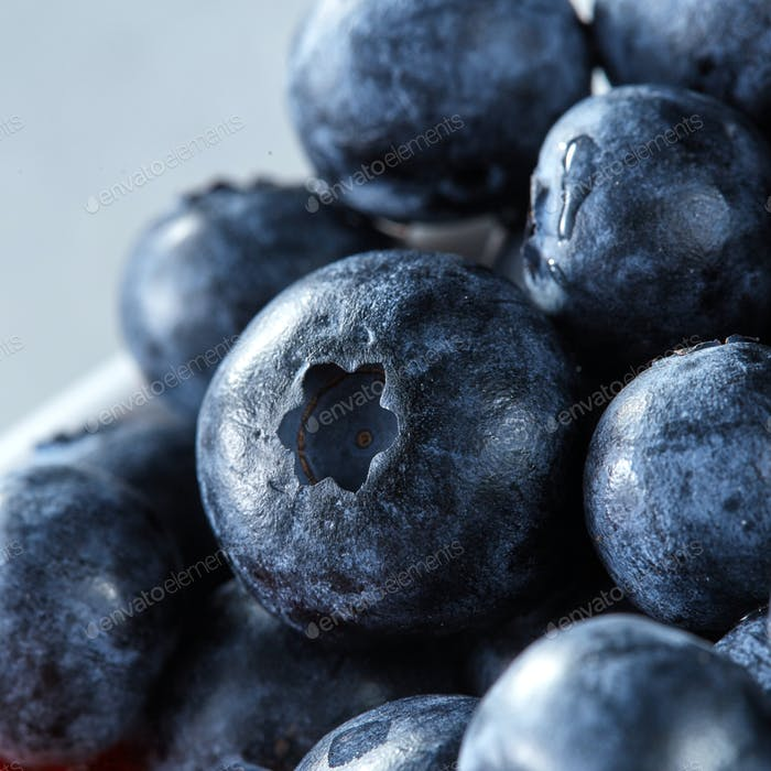 Close-up of ripe fresh blueberries. Berries background from natural organic freshly picked fruits on