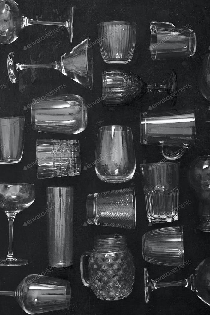 Transparent glass set on the dark background