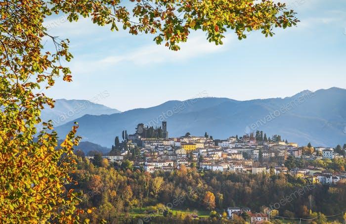 Barga village at sunset in autumn. Garfagnana, Tuscany, Italy.