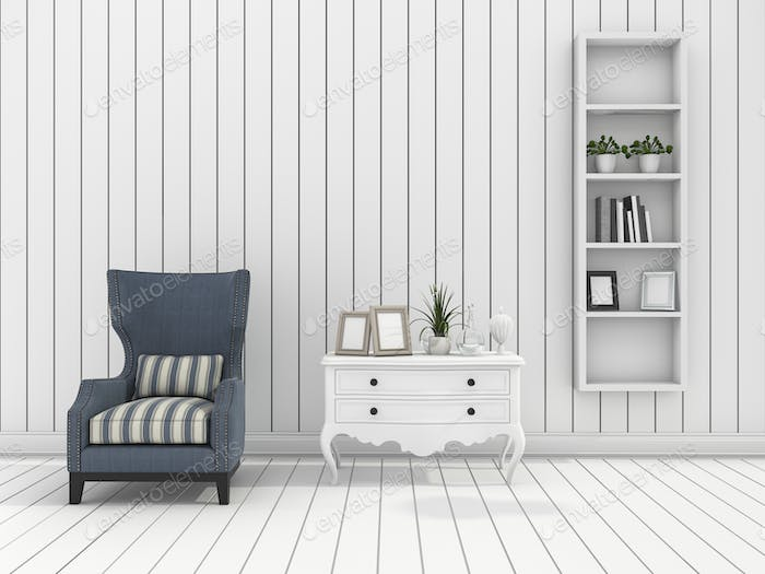 3d rendering white modern wall living room with classic armchair