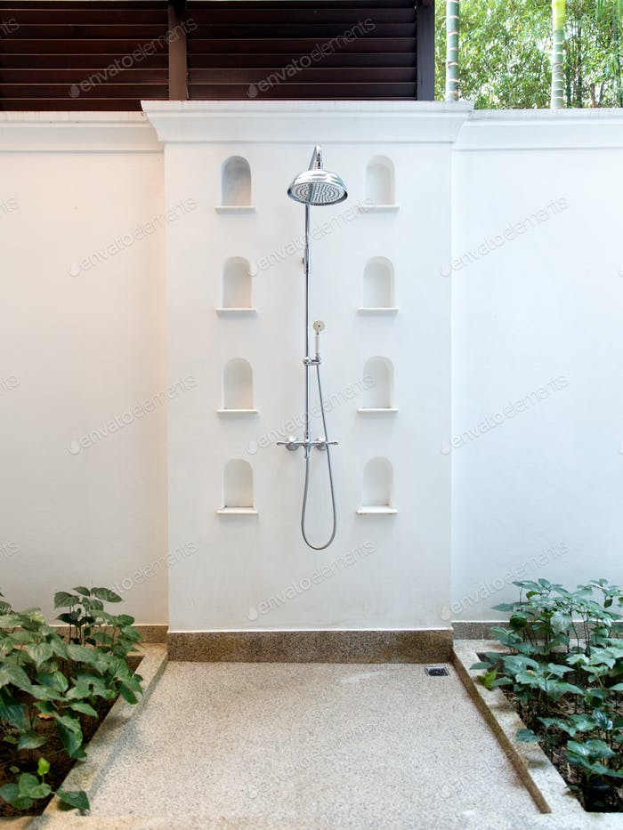 outdoor shower at exotic hotel
