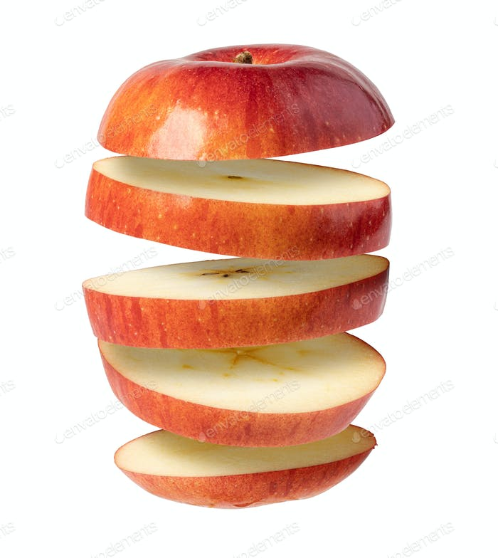 Flying apple on white background