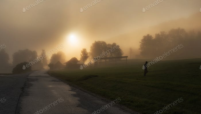 Misty morning in the countryside in autumn
