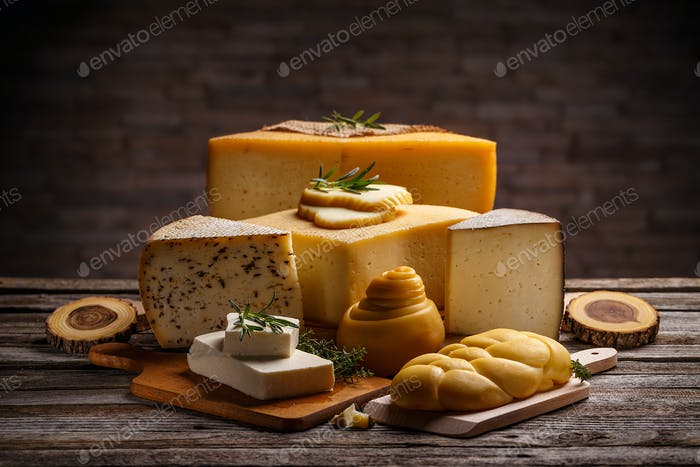 Set of various cheeses
