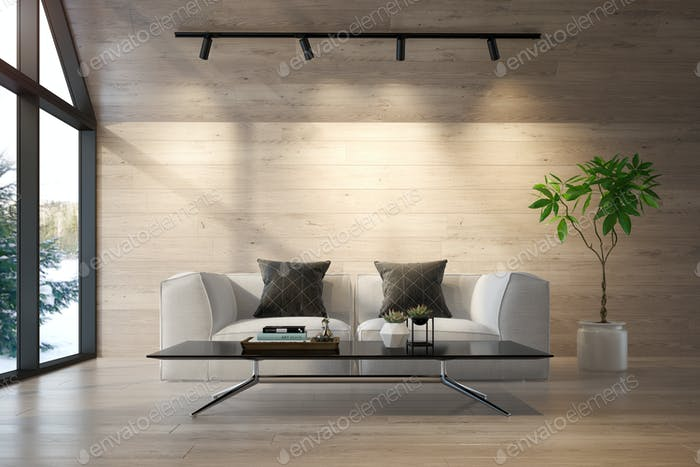 Interior living room of a forest house 3D rendering