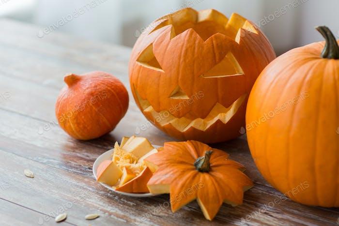 jack-o-lantern or carved halloween pumpkin