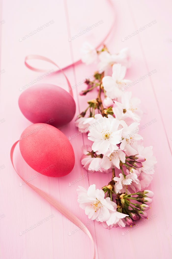 Easter eggs with cherryblossoms