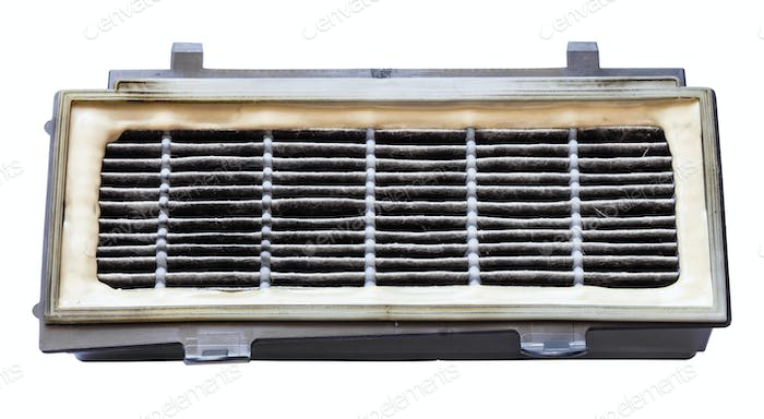 dirty used hepa filter of vacuum cleaner isolated