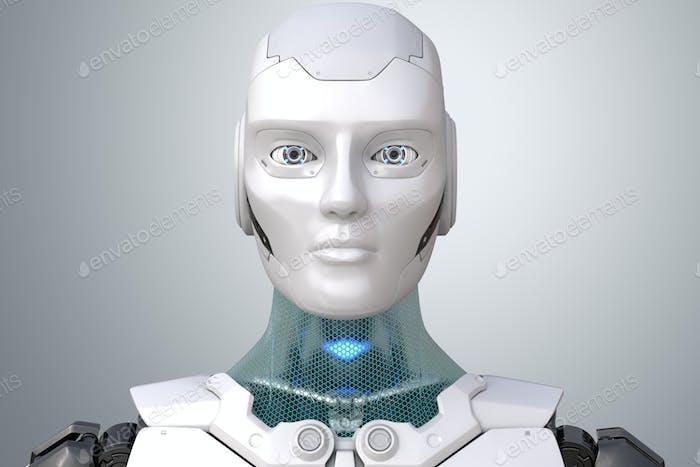 Robot's head in face