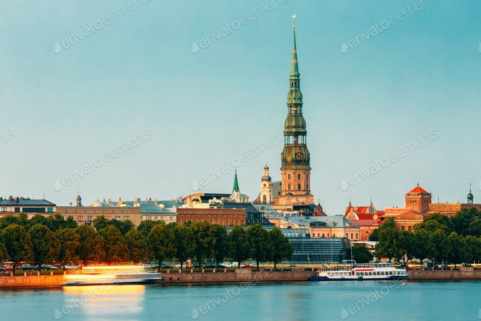 Riga Latvia. View Of Daugava River Embankment, Old Town, Tower O