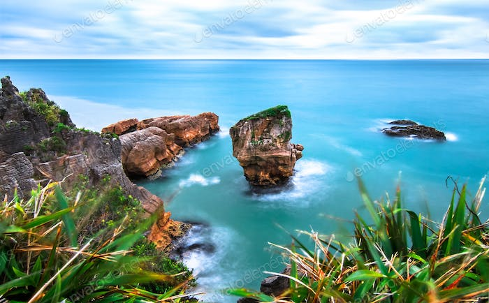 Large Rock Formations at Sea in New Zealand