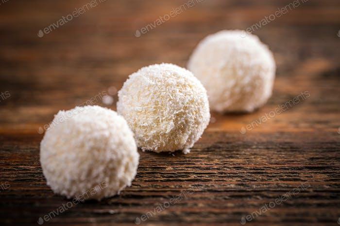 Sweet coconut truffles