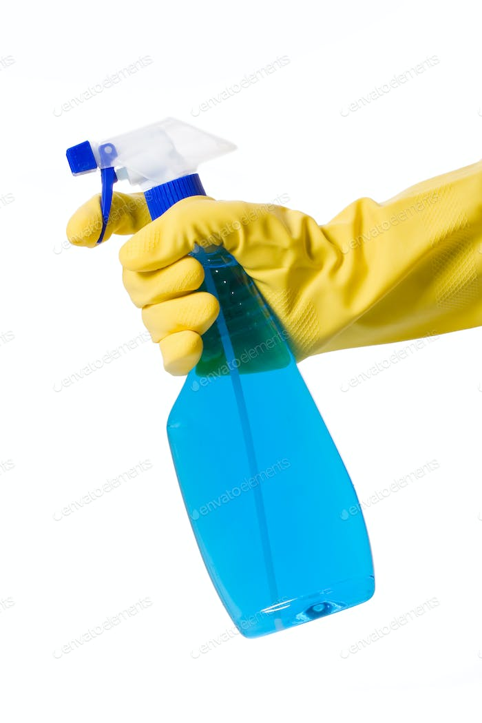 hand in glove with spray bottle