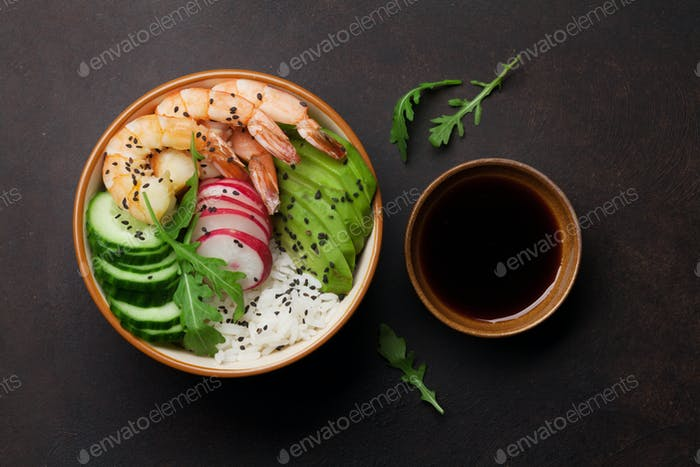 Poke bowl with shrimps and vegetables