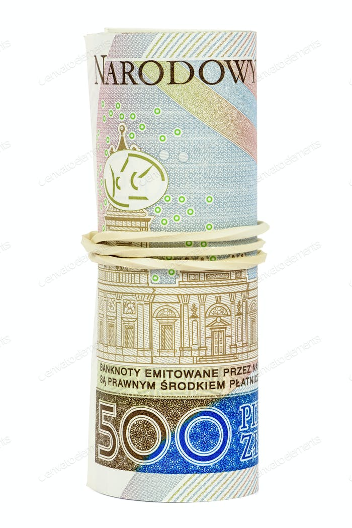 Polish banknotes of 500 PLN rolled with rubber