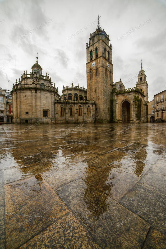Rain in the old Cathedral Square