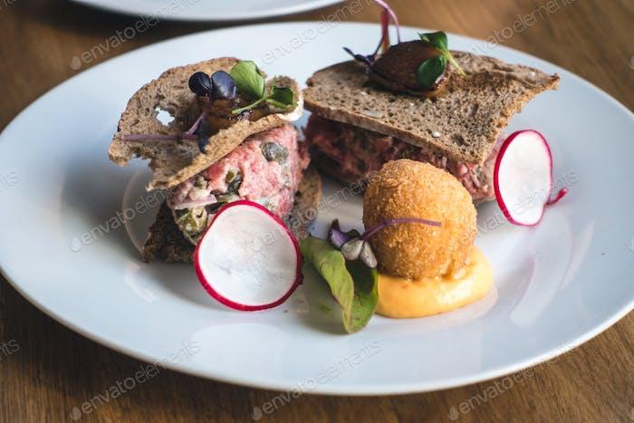 Fancy steak tartare in restaurant