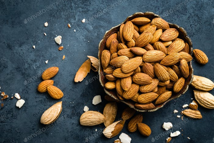 Almond nuts in bowl. Almonds