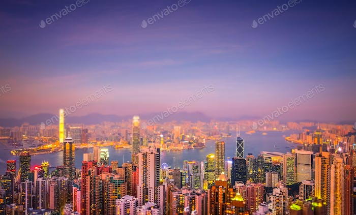 Evening aerial view panorama of Hong Kong. Tilt shift effect