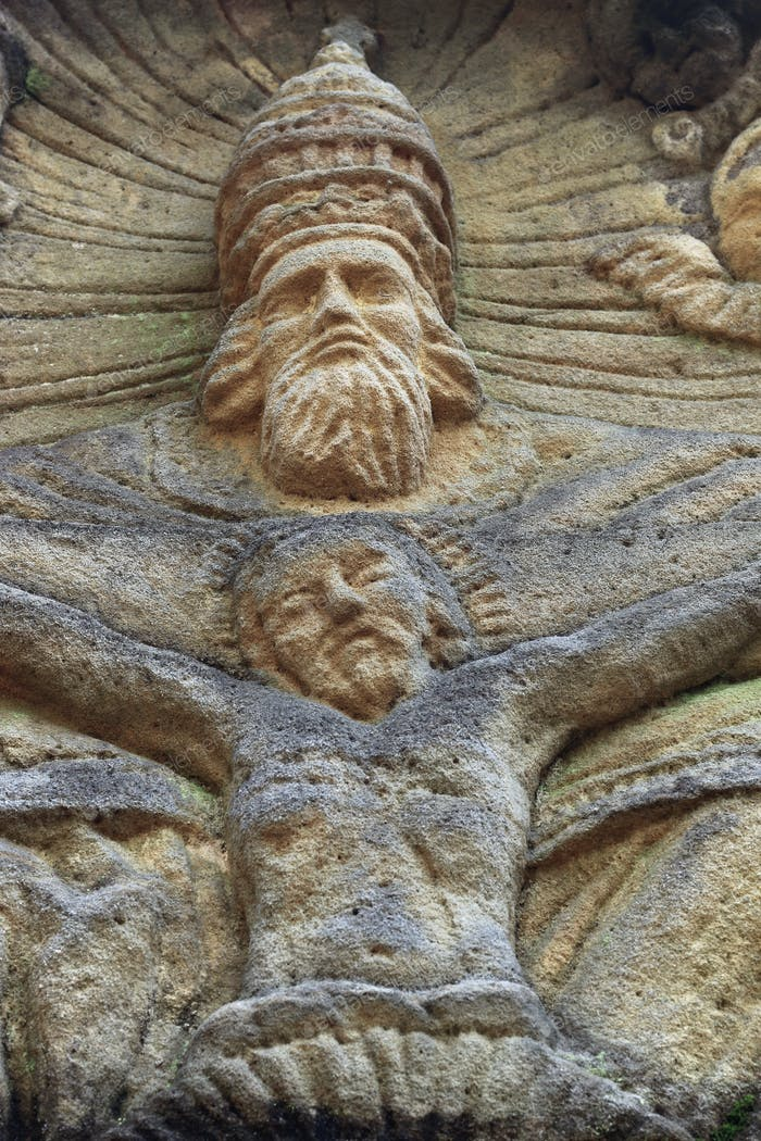 Stone Altar in the Forest - detail of the God and Jesus
