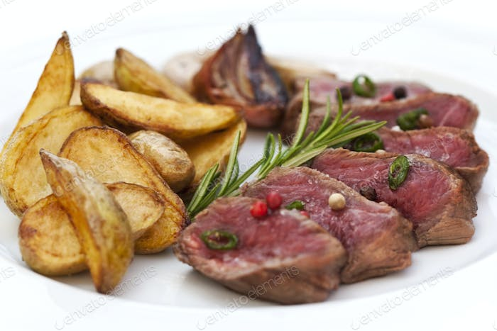 Beef steak and potatoes