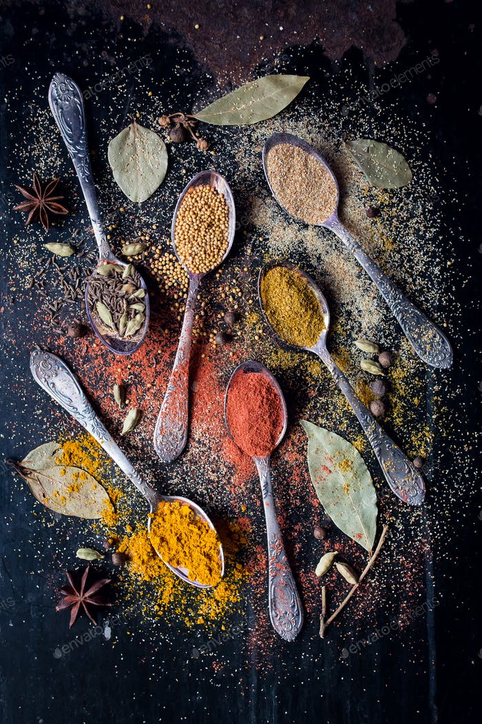 Food spice ingredients for cooking dark background