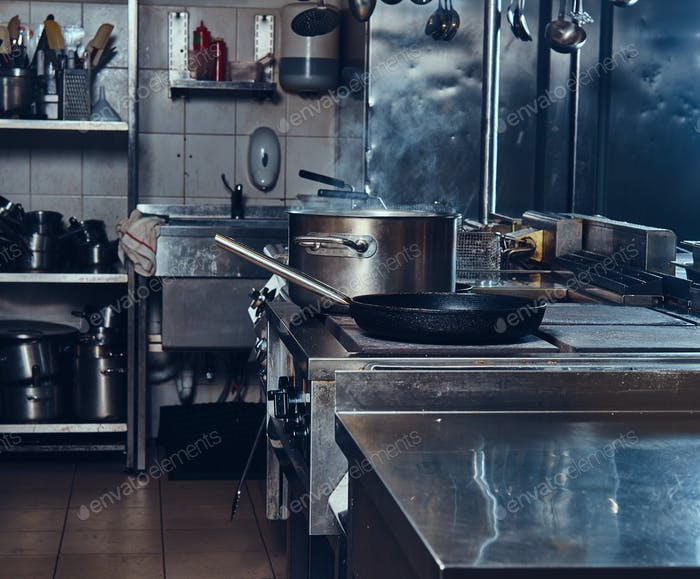 Professional stainless steel kitchen.