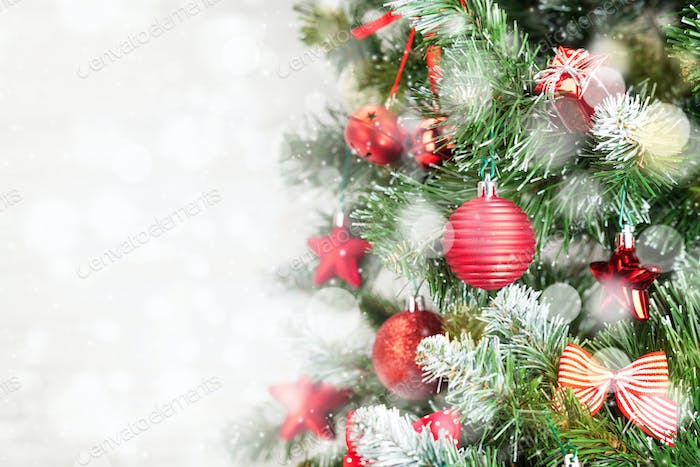 Christmas greeting card with fir tree