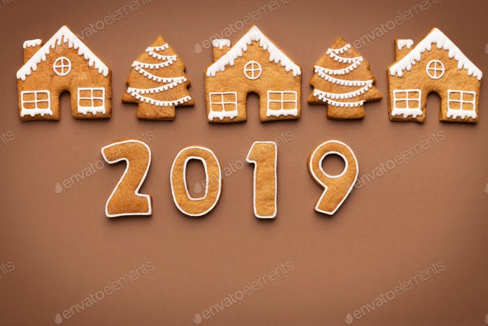 Merry Christmas and Happy New Year 2019, top view