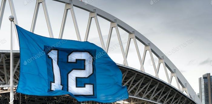 The Twelveth Man Flag Seattle Washington Footbal Stadium
