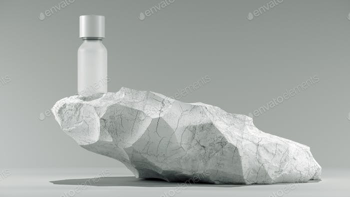 bottle of essential massage oil on stone - beauty treatment. Minimal white design packaging mock up.