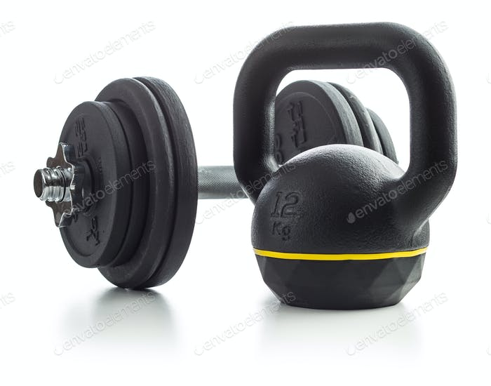 The black kettlebell and dumbbell.