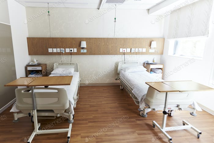 Beds In Empty Hospital Ward