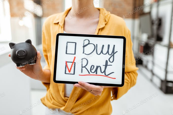 Woman decides between buying or renting house