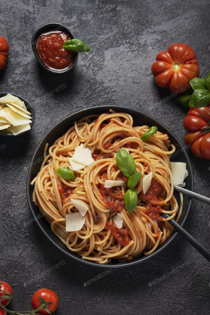 Traditional Italian pasta with tomato sauce