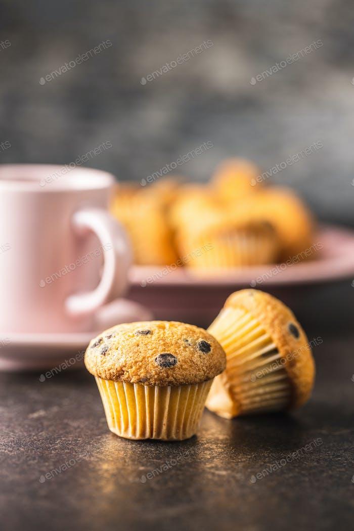 Leckere Schokoladen-Muffins. Süße Cupcakes.