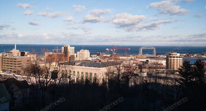 Stark Winter Day Duluth Downtown Minnesota Great Lake Superior