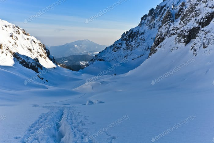 winter mountain valley, Bucegi Mountains, Romania