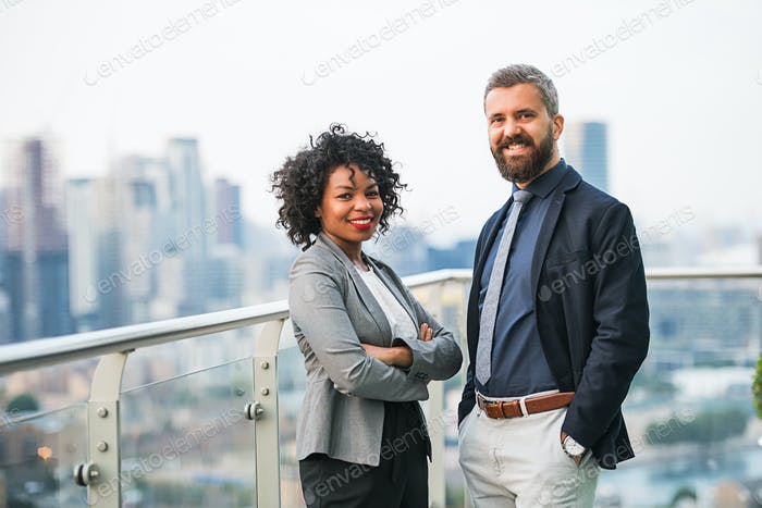 A portrait of two businesspeople standing against London view panorama.