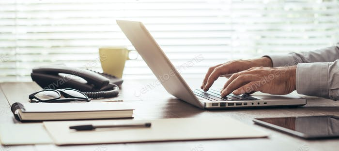 Corporate businessman working with a laptop
