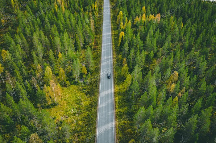 Aerial view of car on a road in green forest in Finland