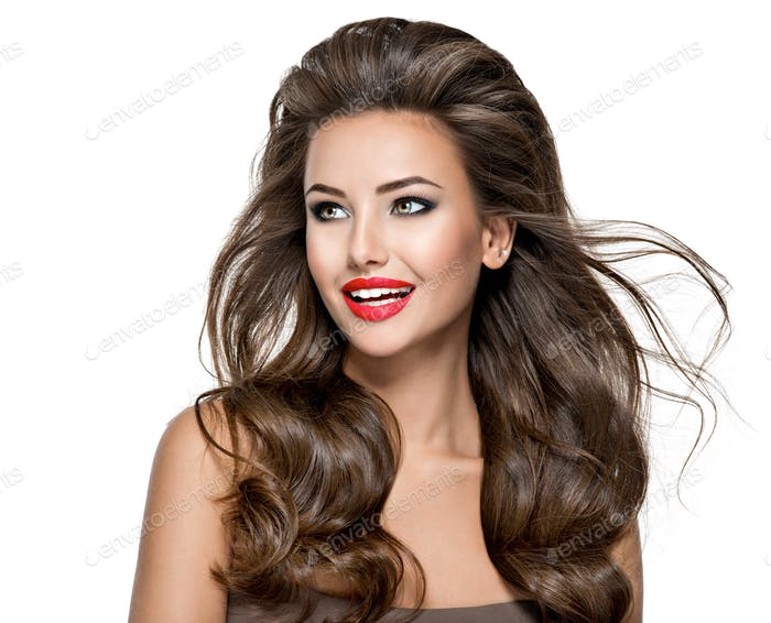 Beautiful pretty happy woman with bright makeup and long hair