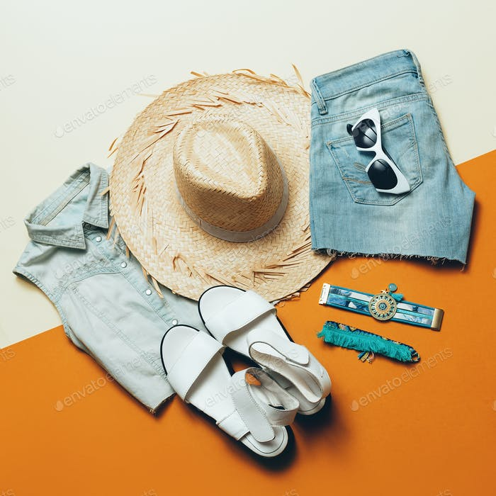 Summer outfit. Denim Shorts Sandals hat Safari style