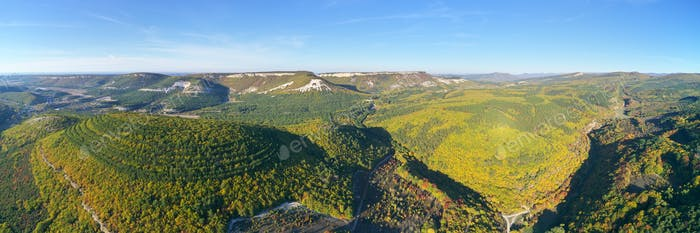 Mountain panorama from drone.