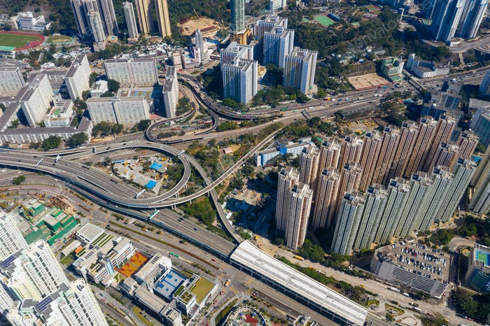 Kowloon Bay, Hong Kong: 29 January 2019: Top view of Hong Kong city